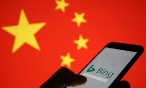 Bing phone with China flag backdrop